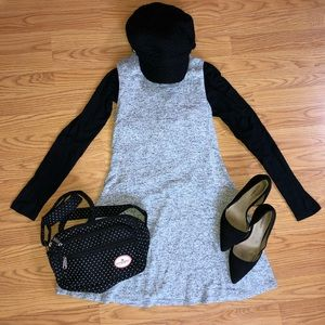 Heather Gray A-Line Mock Neck Dress